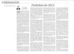 D Weinberg - Predictions for 2013- Jerusalem Post - 8 Jan 2013
