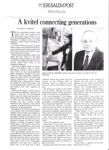 Kvitel connecting generations - JPost - 5 April 2013