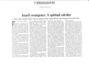 israel resurgence - spiritual calculus - JPost -12 April 2013