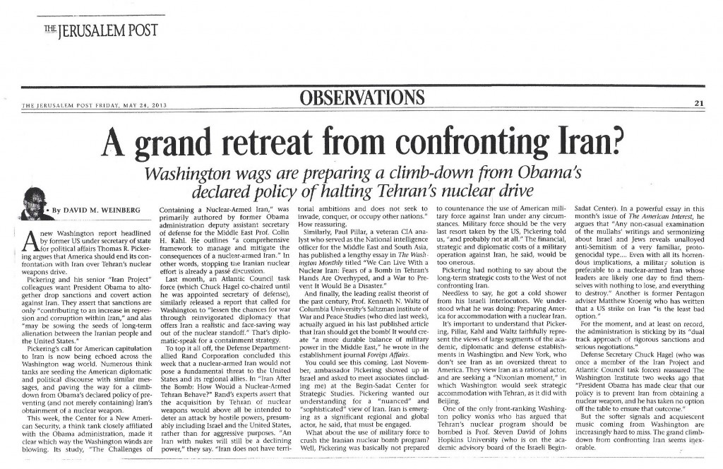 American retreat from confronting Iran - JPost - 24 May 2013