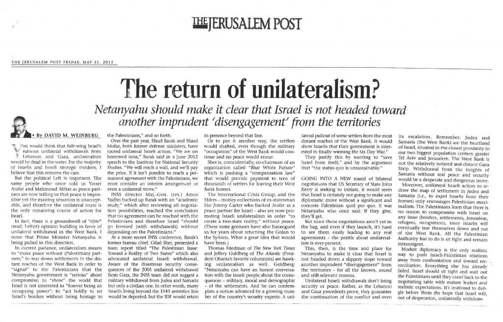 return of unilateralism - JPost - 31 May 2013