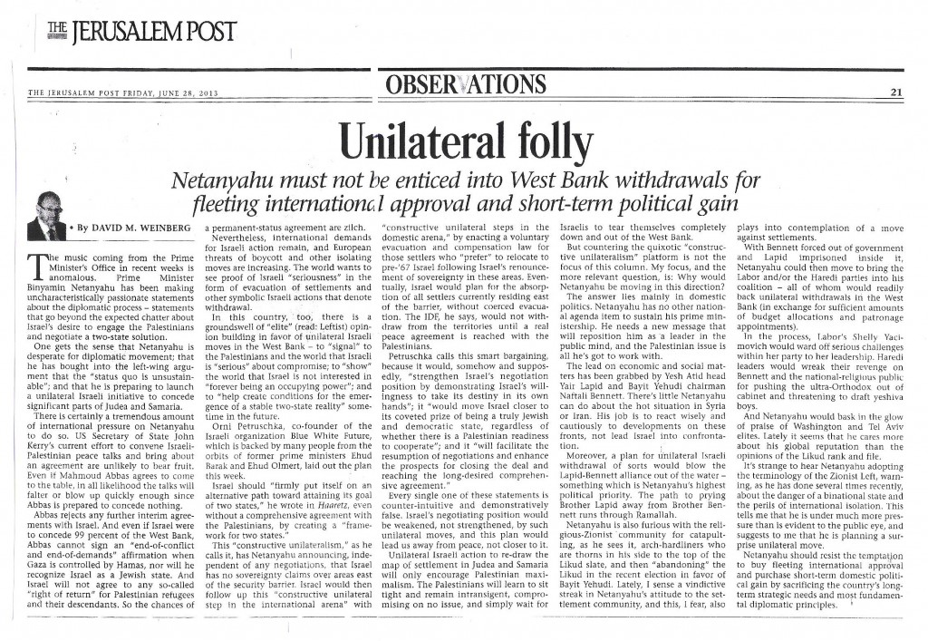 Unilateral folly- JPost - 28 June 2013