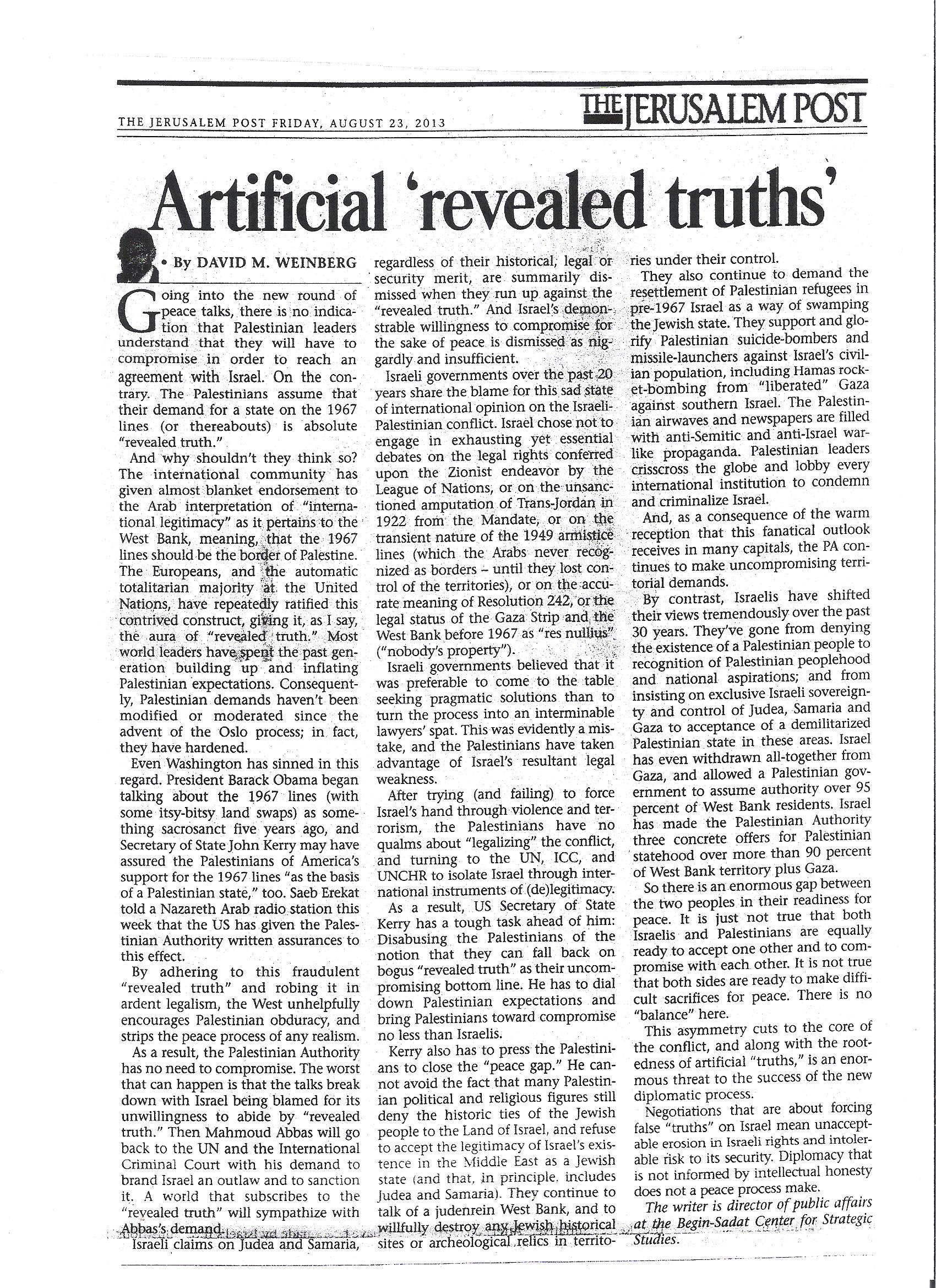 artificial revealed truths - JPost - 23 Aug 2013