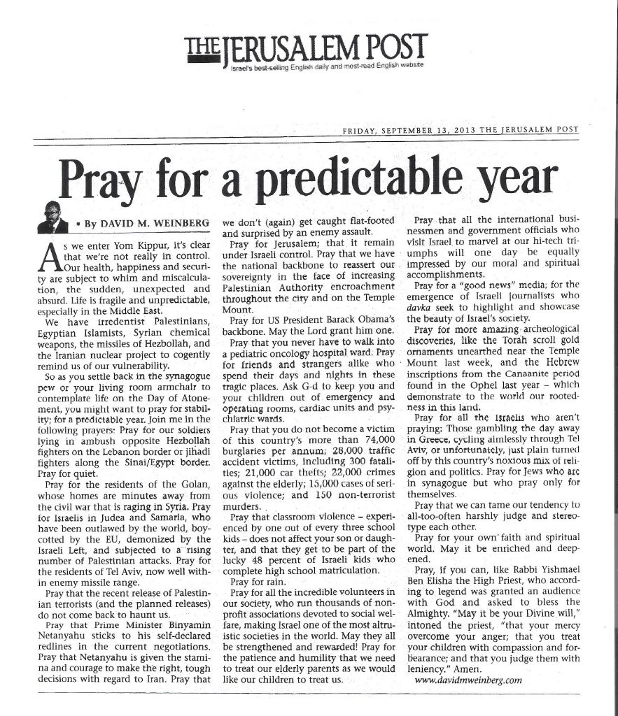 Pray for a predictable year - Yom Kippur eve - JPost- 13 Sept 2013