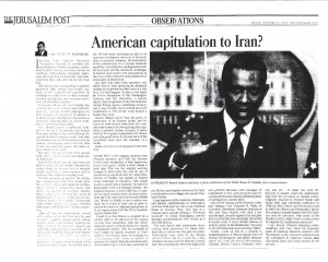 American capitulation to Iran - JPost - 11 Oct 2013