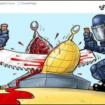 An Arab cartoon accuses Israeli troops of destroying the Dome of the Rock.