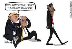 Trump protects Netanyahu from Obama (cartoon)